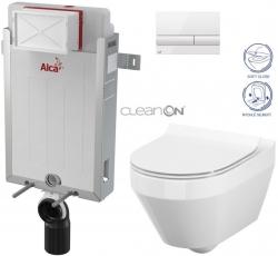 AKCE/SET/ALCAPLAST - SET Renovmodul - předstěnový instalační systém + tlačítko M1710 + WC CERSANIT CLEANON CREA OVÁL + SEDÁTKO (AM115/1000 M1710 CR1)