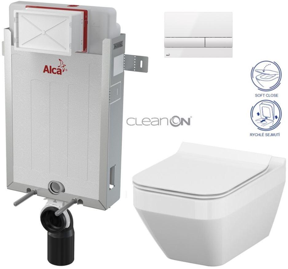 AKCE/SET/ALCAPLAST - Renovmodul - předstěnový instalační systém + tlačítko M1710 + WC CERSANIT CLEANON CREA ČTVEREC + SEDÁTKO (AM115/1000 M1710 CR2)
