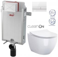 ALCAPLAST  Renovmodul - předstěnový instalační systém s bílým tlačítkem M1710 + WC CERSANIT ZEN CLEANON + SEDÁTKO (AM115/1000 M1710 HA1)