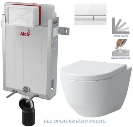 AKCE/SET/ALCAPLAST - Renovmodul - předstěnový instalační systém + tlačítko M1710 + WC LAUFEN PRO RIMLESS + SEDÁTKO (AM115/1000 M1710 LP1)