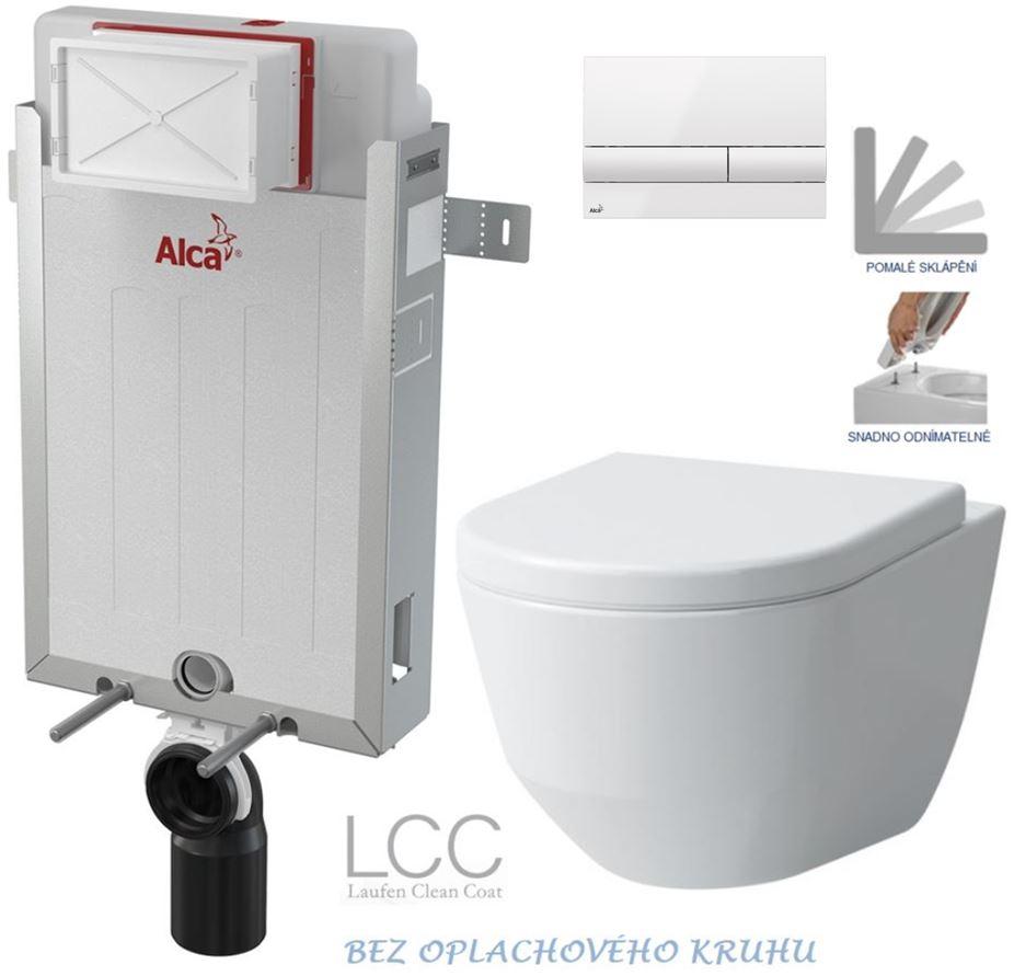 AKCE/SET/ALCAPLAST - Renovmodul - předstěnový instalační systém + tlačítko M1710 + WC LAUFEN PRO LCC RIMLESS + SEDÁTKO (AM115/1000 M1710 LP2)