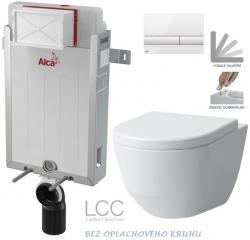 AKCE/SET/ALCAPLAST - SET Renovmodul - předstěnový instalační systém + tlačítko M1710 + WC LAUFEN PRO LCC RIMLESS + SEDÁTKO (AM115/1000 M1710 LP2)