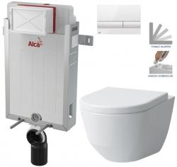 AKCE/SET/ALCAPLAST - SET Renovmodul - předstěnový instalační systém + tlačítko M1710 + WC LAUFEN PRO + SEDÁTKO (AM115/1000 M1710 LP3)