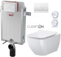 SET Renovmodul - předstěnový instalační systém + tlačítko M1710 + WC OPOCZNO CLEANON METROPOLITAN + SEDÁTKO (AM115/1000 M1710 ME1) - AKCE/SET/ALCAPLAST