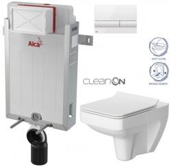 AKCE/SET/ALCAPLAST - Renovmodul - předstěnový instalační systém + tlačítko M1710 + WC CERSANIT CLEANON SPLENDOUR + SEDÁTKO (AM115/1000 M1710 SP1)