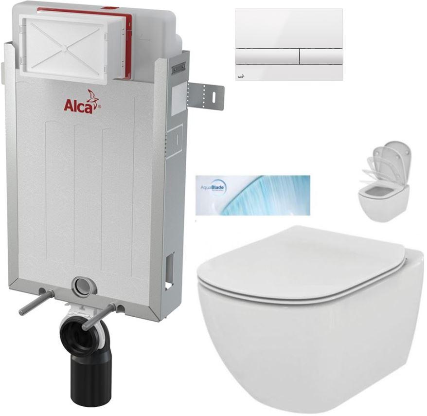 ALCAPLAST Renovmodul předstěnový instalační systém s bílým tlačítkem M1710 + WC Ideal Standard Tesi se sedátkem SoftClose, AquaBlade AM115/1000 M1710 TE1