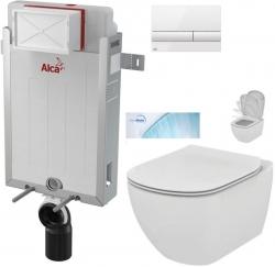 AKCE/SET/ALCAPLAST - SET Renovmodul - předstěnový instalační systém + tlačítko M1710 + WC TESI se sedátkem SoftClose, AquaBlade (AM115/1000 M1710 TE1)