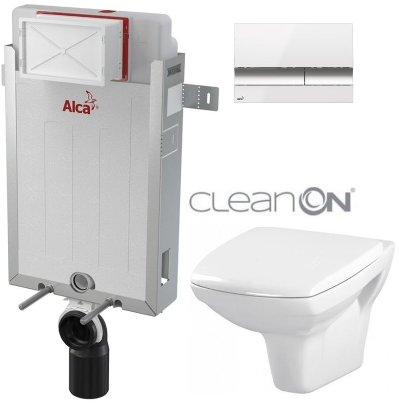 Renovmodul - předstěnový instalační systém + tlačítko M1720-1 + WC CERSANIT CLEANON CARINA + SEDÁTKO (AM115/1000 M1720-1 CA1) - AKCE/SET/ALCAPLAST
