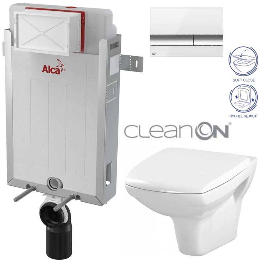 AKCE/SET/ALCAPLAST - Renovmodul - předstěnový instalační systém + tlačítko M1720-1 + WC CERSANIT CLEANON CARINA + SEDÁTKO (AM115/1000 M1720-1 CA2)