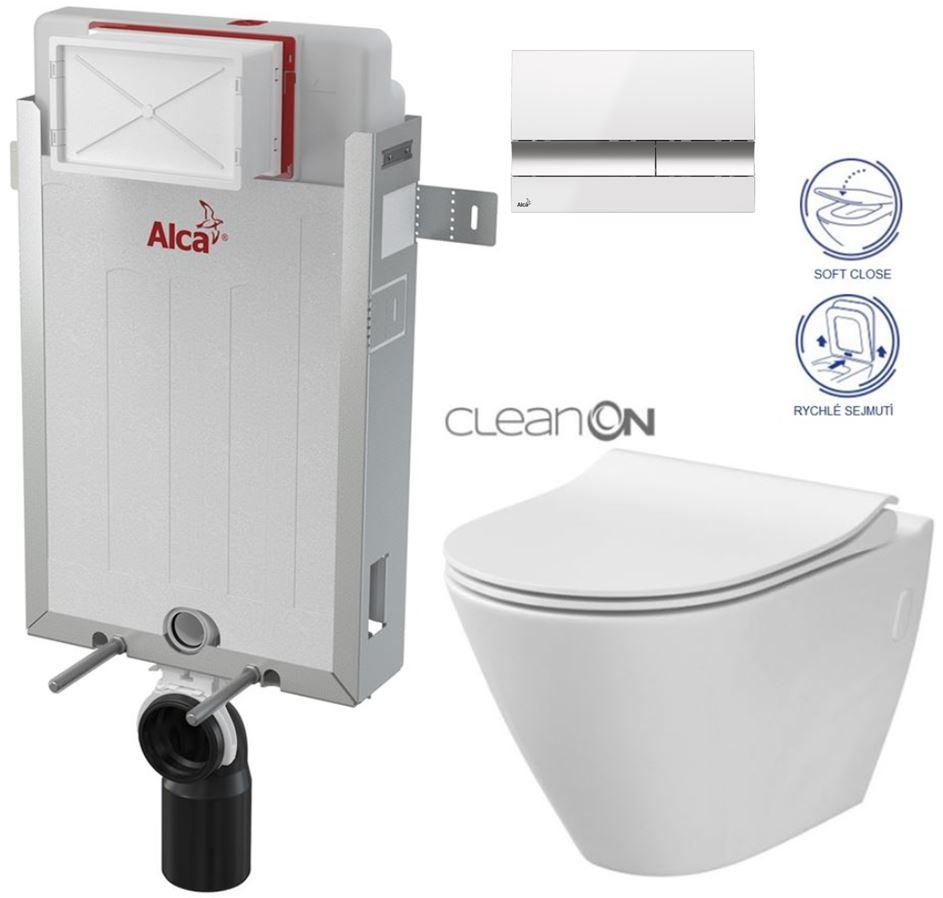 AKCE/SET/ALCAPLAST - Renovmodul - předstěnový instalační systém + tlačítko M1720-1 + WC CERSANIT CLEANON CITY +SEDÁTKO (AM115/1000 M1720-1 CI1)