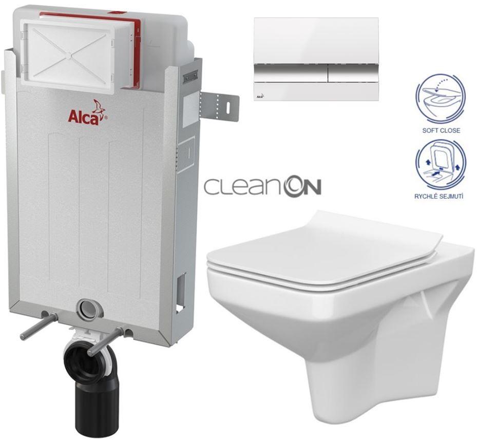 AKCE/SET/ALCAPLAST - Renovmodul - předstěnový instalační systém + tlačítko M1720-1 + WC CERSANIT CLEANON COMO + SEDÁTKO (AM115/1000 M1720-1 CO1)