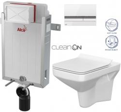 AKCE/SET/ALCAPLAST - SET Renovmodul - předstěnový instalační systém + tlačítko M1720-1 + WC CERSANIT CLEANON COMO + SEDÁTKO (AM115/1000 M1720-1 CO1)