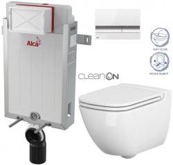 AKCE/SET/ALCAPLAST - Renovmodul - předstěnový instalační systém + tlačítko M1720-1 + WC CERSANIT CLEANON CASPIA + SEDÁTKO (AM115/1000 M1720-1 CP1)