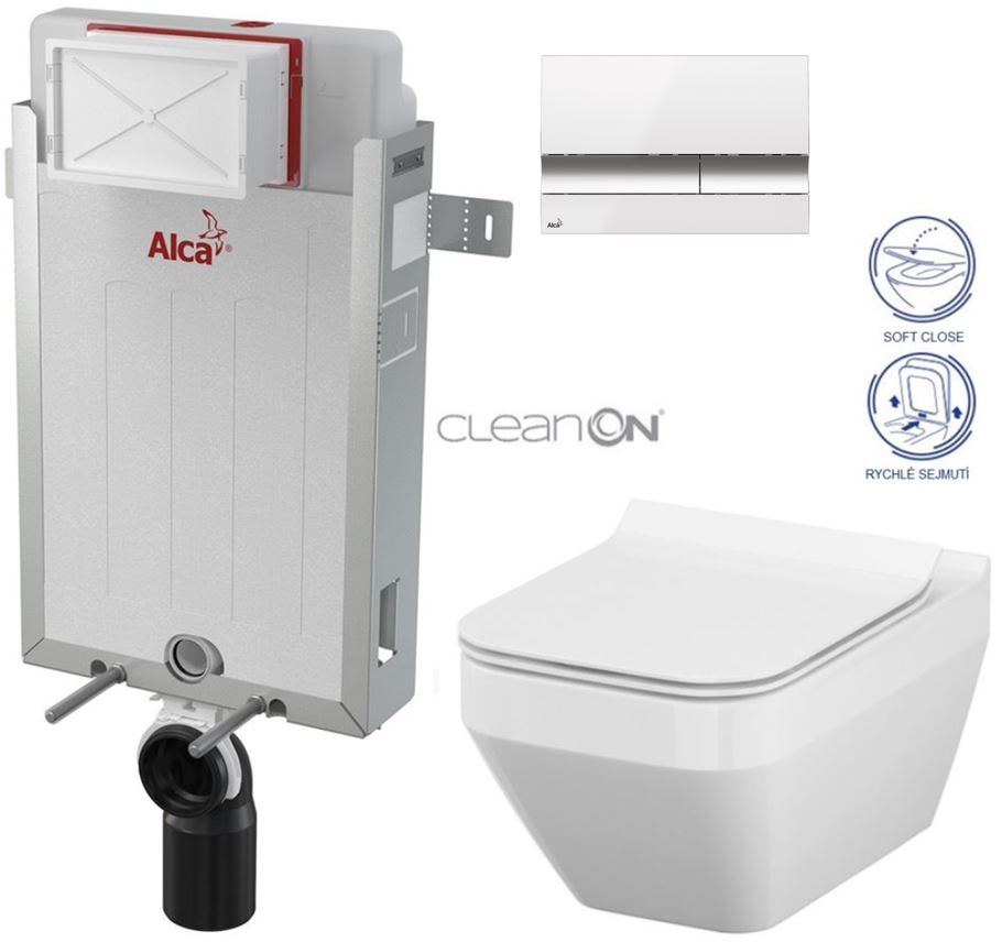 AKCE/SET/ALCAPLAST - Renovmodul - předstěnový instalační systém + tlačítko M1720-1 + WC CERSANIT CLEANON CREA ČTVEREC + SEDÁTKO (AM115/1000 M1720-1 CR2)