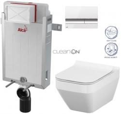 SET Renovmodul - předstěnový instalační systém + tlačítko M1720-1 + WC CERSANIT CLEANON CREA ČTVEREC + SEDÁTKO (AM115/1000 M1720-1 CR2) - AKCE/SET/ALCAPLAST