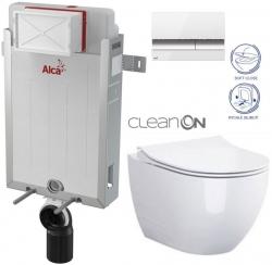 SET Renovmodul - předstěnový instalační systém + tlačítko M1720-1 + WC OPOCZNO CLEANON URBAN HARMONY + SEDÁTKO (AM115/1000 M1720-1 HA1) - AKCE/SET/ALCAPLAST