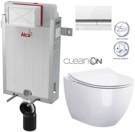 ALCAPLAST  Renovmodul - předstěnový instalační systém s bílým/ chrom tlačítkem M1720-1 + WC CERSANIT ZEN CLEANON + SEDÁTKO (AM115/1000 M1720-1 HA1)
