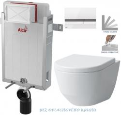 ALCAPLAST  Renovmodul - předstěnový instalační systém s bílým/ chrom tlačítkem M1720-1 + WC LAUFEN PRO RIMLESS + SEDÁTKO (AM115/1000 M1720-1 LP1)