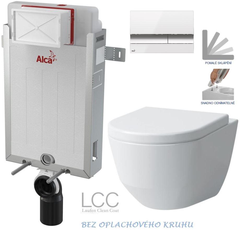 AKCE/SET/ALCAPLAST - Renovmodul - předstěnový instalační systém + tlačítko M1720-1 + WC LAUFEN PRO LCC RIMLESS + SEDÁTKO (AM115/1000 M1720-1 LP2)