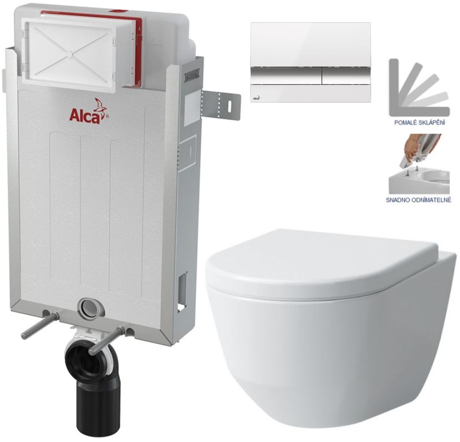 AKCE/SET/ALCAPLAST SET Renovmodul předstěnový instalační systém + tlačítko M1720-1 + WC LAUFEN PRO + SEDÁTKO AM115/1000 M1720-1 LP3
