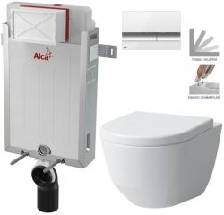 AKCE/SET/ALCAPLAST - SET Renovmodul - předstěnový instalační systém + tlačítko M1720-1 + WC LAUFEN PRO + SEDÁTKO (AM115/1000 M1720-1 LP3)