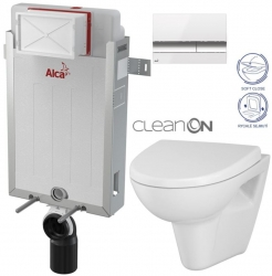 AKCE/SET/ALCAPLAST - Renovmodul - předstěnový instalační systém + tlačítko M1720-1 + WC CERSANIT CLEANON PARVA + SEDÁTKO (AM115/1000 M1720-1 PA1)