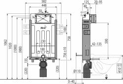 AKCE/SET/ALCAPLAST - Renovmodul - předstěnový instalační systém + tlačítko M1720-1 + WC CERSANIT CLEANON PARVA + SEDÁTKO (AM115/1000 M1720-1 PA1), fotografie 6/9