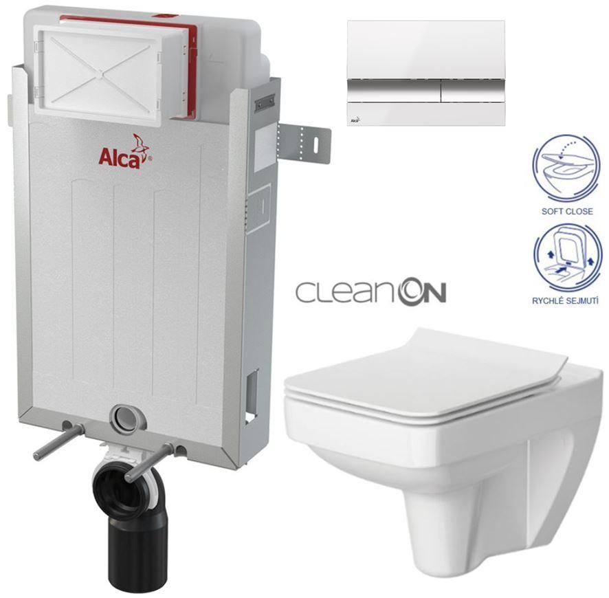 AKCE/SET/ALCAPLAST - Renovmodul - předstěnový instalační systém + tlačítko M1720-1 + WC CERSANIT CLEANON SPLENDOUR + SEDÁTKO (AM115/1000 M1720-1 SP1)