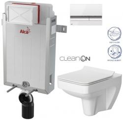 AKCE/SET/ALCAPLAST - SET Renovmodul - předstěnový instalační systém + tlačítko M1720-1 + WC CERSANIT CLEANON SPLENDOUR + SEDÁTKO (AM115/1000 M1720-1 SP1)