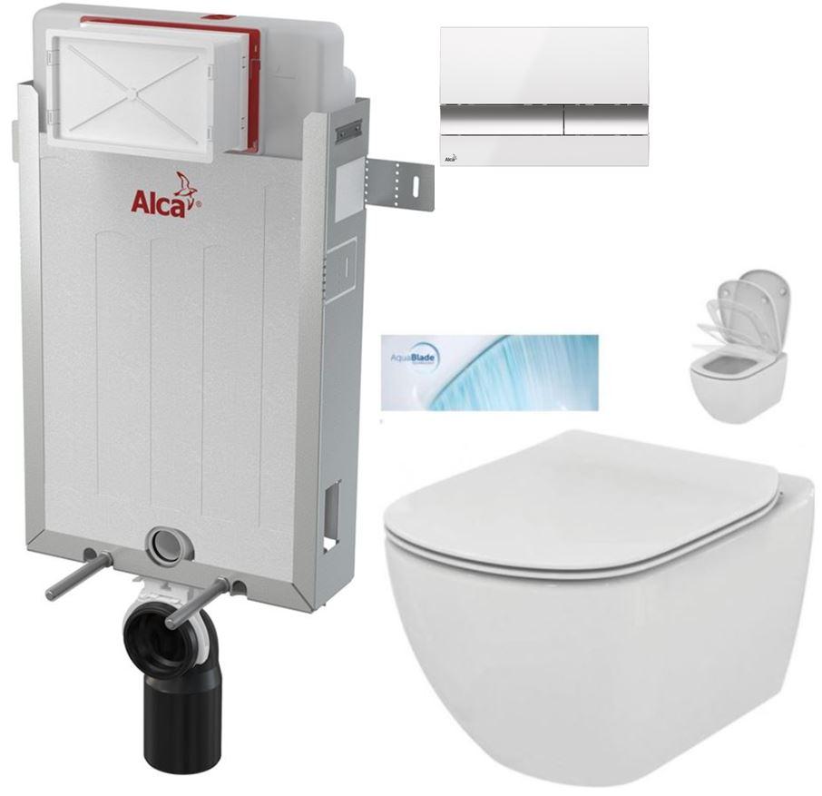 AKCE/SET/ALCAPLAST - Renovmodul - předstěnový instalační systém + tlačítko M1720-1 + WC TESI se sedátkem SoftClose, AquaBlade (AM115/1000 M1720-1 TE1)