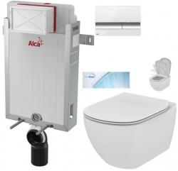 ALCAPLAST  Renovmodul - předstěnový instalační systém s bílým/ chrom tlačítkem M1720-1 + WC Ideal Standard Tesi se sedátkem SoftClose, AquaBlade  (AM115/1000 M1720-1 TE1)