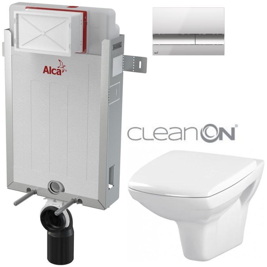 AKCE/SET/ALCAPLAST - Renovmodul - předstěnový instalační systém + tlačítko M1721 + WC CERSANIT CLEANON CARINA + SEDÁTKO (AM115/1000 M1721 CA1)