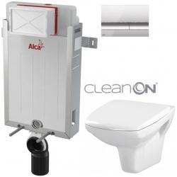 SET Renovmodul - předstěnový instalační systém + tlačítko M1721 + WC CERSANIT CLEANON CARINA + SEDÁTKO (AM115/1000 M1721 CA1) - AKCE/SET/ALCAPLAST