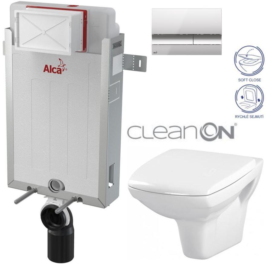 AKCE/SET/ALCAPLAST - Renovmodul - předstěnový instalační systém + tlačítko M1721 + WC CERSANIT CLEANON CARINA + SEDÁTKO (AM115/1000 M1721 CA2)