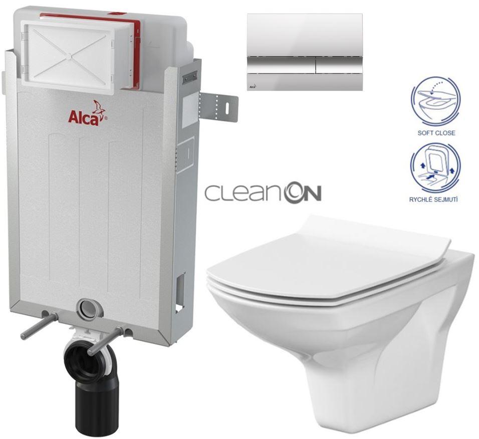 AKCE/SET/ALCAPLAST - Renovmodul - předstěnový instalační systém + tlačítko M1721 + WC CERSANIT CLEANON CARINA + SEDÁTKO (AM115/1000 M1721 CA3)