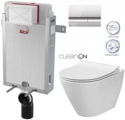 AKCE/SET/ALCAPLAST - Renovmodul - předstěnový instalační systém + tlačítko M1721 + WC CERSANIT CLEANON CITY + SEDÁTKO (AM115/1000 M1721 CI1)
