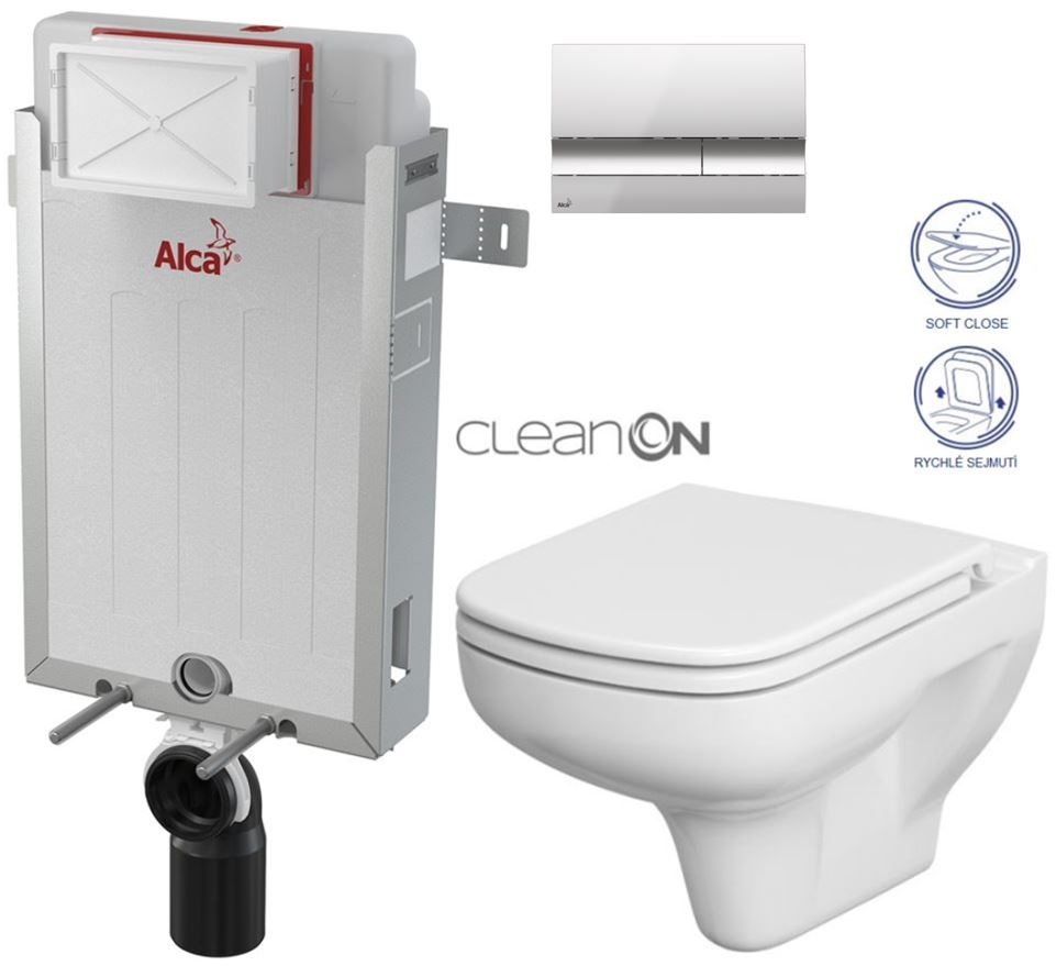 AKCE/SET/ALCAPLAST - Renovmodul - předstěnový instalační systém + tlačítko M1721 + WC CERSANIT CLEANON COLOUR + SEDÁTKO (AM115/1000 M1721 CN1)