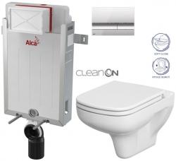 AKCE/SET/ALCAPLAST - SET Renovmodul - předstěnový instalační systém + tlačítko M1721 + WC CERSANIT CLEANON COLOUR + SEDÁTKO (AM115/1000 M1721 CN1)