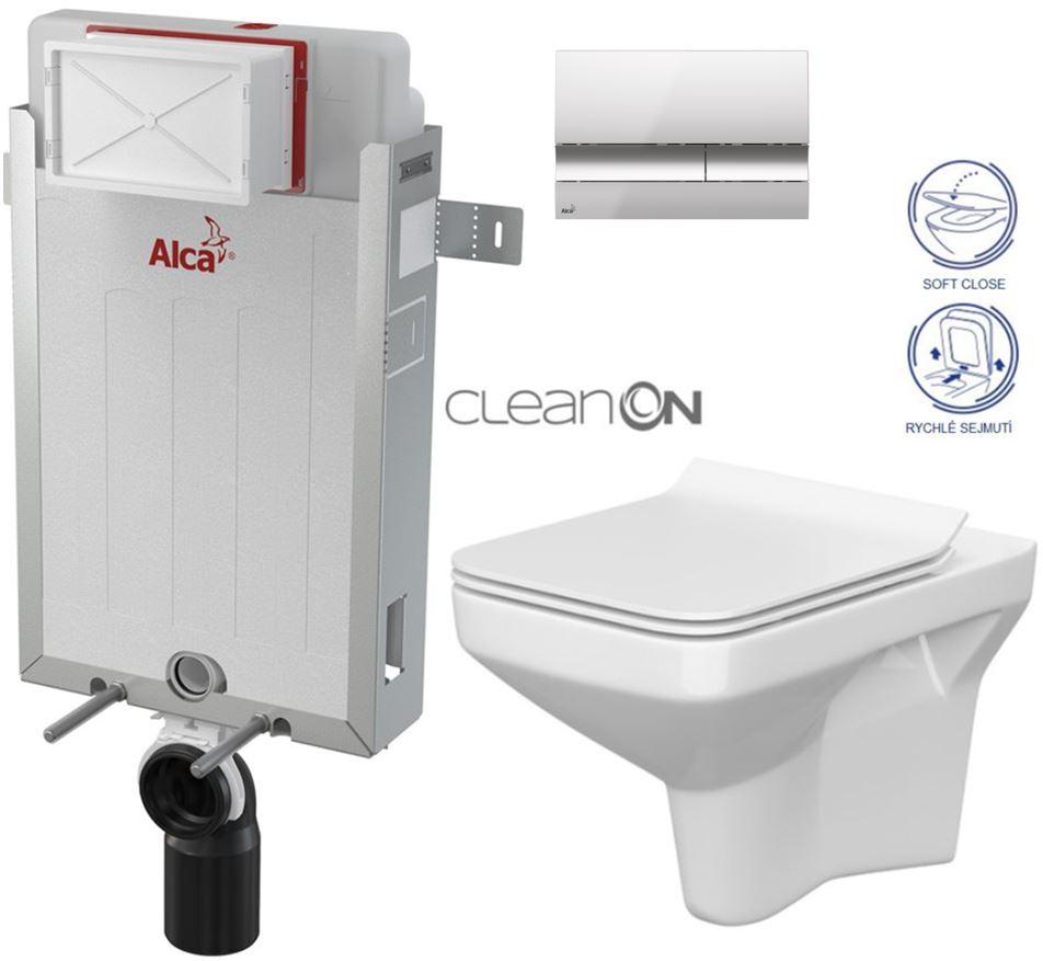 AKCE/SET/ALCAPLAST - Renovmodul - předstěnový instalační systém + tlačítko M1721 + WC CERSANIT CLEANON COMO + SEDÁTKO (AM115/1000 M1721 CO1)