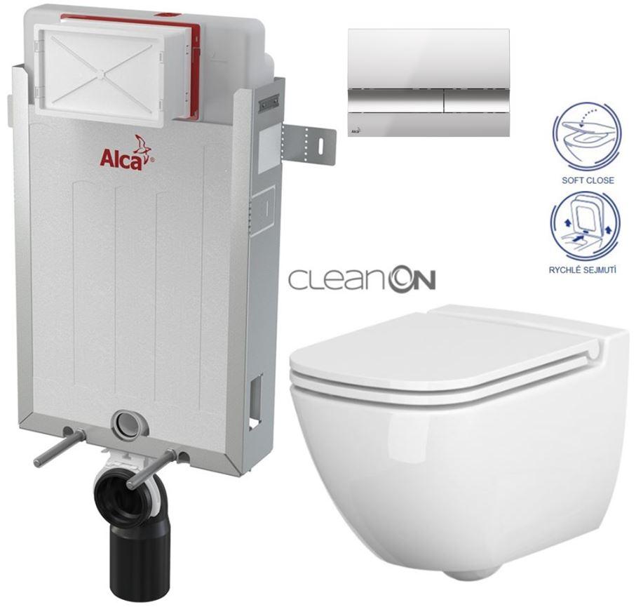 AKCE/SET/ALCAPLAST - Renovmodul - předstěnový instalační systém + tlačítko M1721 + WC CERSANIT CLEANON CASPIA + SEDÁTKO (AM115/1000 M1721 CP1)