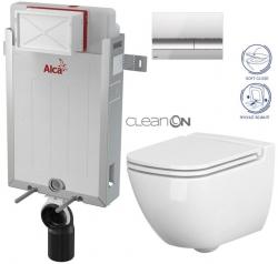 Renovmodul - předstěnový instalační systém + tlačítko M1721 + WC CERSANIT CLEANON CASPIA + SEDÁTKO (AM115/1000 M1721 CP1) - AKCE/SET/ALCAPLAST