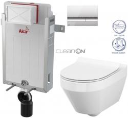 SET Renovmodul - předstěnový instalační systém + tlačítko M1721 + WC CERSANIT CLEANON CREA OVÁL + SEDÁTKO (AM115/1000 M1721 CR1) - AKCE/SET/ALCAPLAST