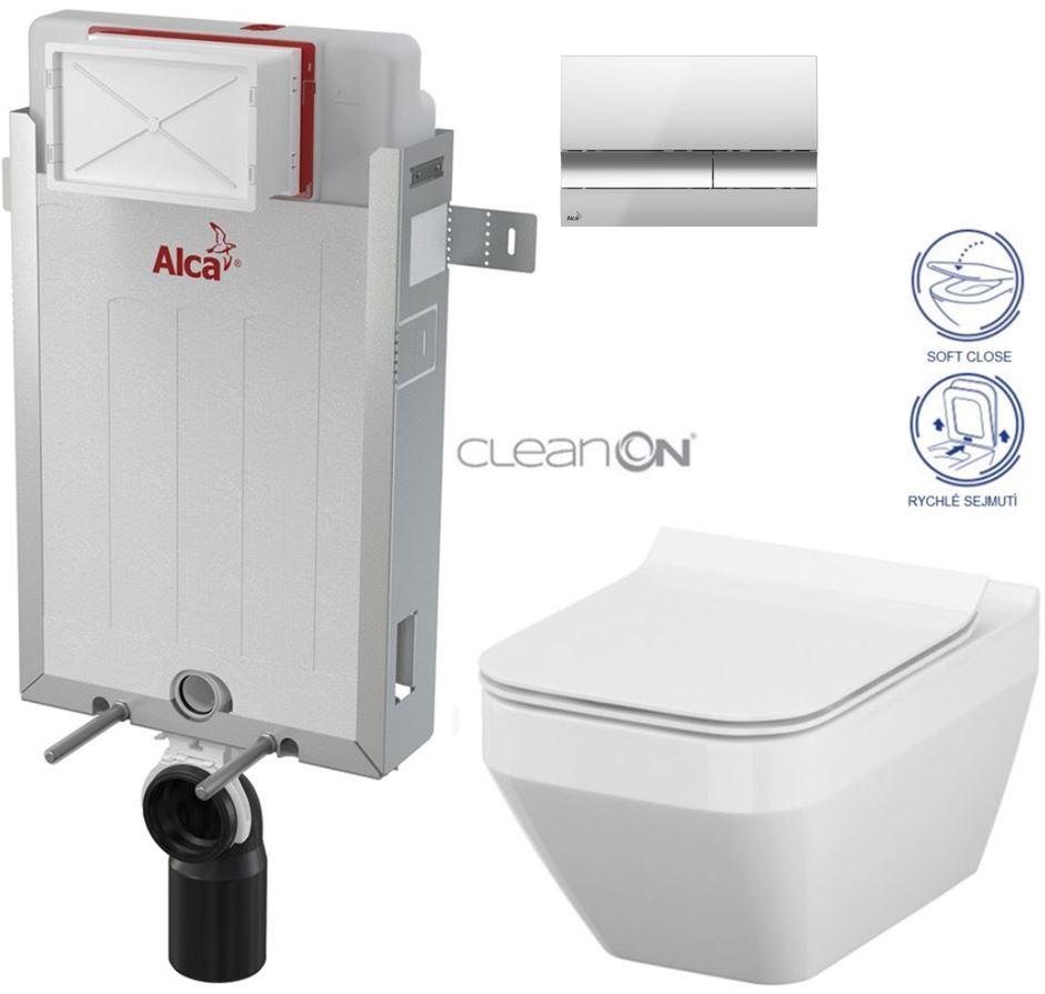 AKCE/SET/ALCAPLAST - Renovmodul - předstěnový instalační systém + tlačítko M1721 + WC CERSANIT CLEANON CREA ČTVEREC+ SEDÁTKO (AM115/1000 M1721 CR2)