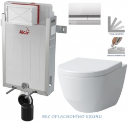 AKCE/SET/ALCAPLAST - SET Renovmodul - předstěnový instalační systém + tlačítko M1721 + WC LAUFEN PRO RIMLESS + SEDÁTKO (AM115/1000 M1721 LP1)