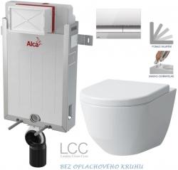 SET Renovmodul - předstěnový instalační systém + tlačítko M1721 + WC LAUFEN PRO LCC RIMLESS + SEDÁTKO (AM115/1000 M1721 LP2) - AKCE/SET/ALCAPLAST