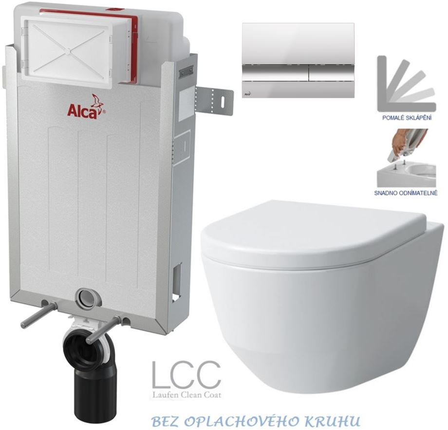 AKCE/SET/ALCAPLAST - Renovmodul - předstěnový instalační systém + tlačítko M1721 + WC LAUFEN PRO LCC RIMLESS + SEDÁTKO (AM115/1000 M1721 LP2)