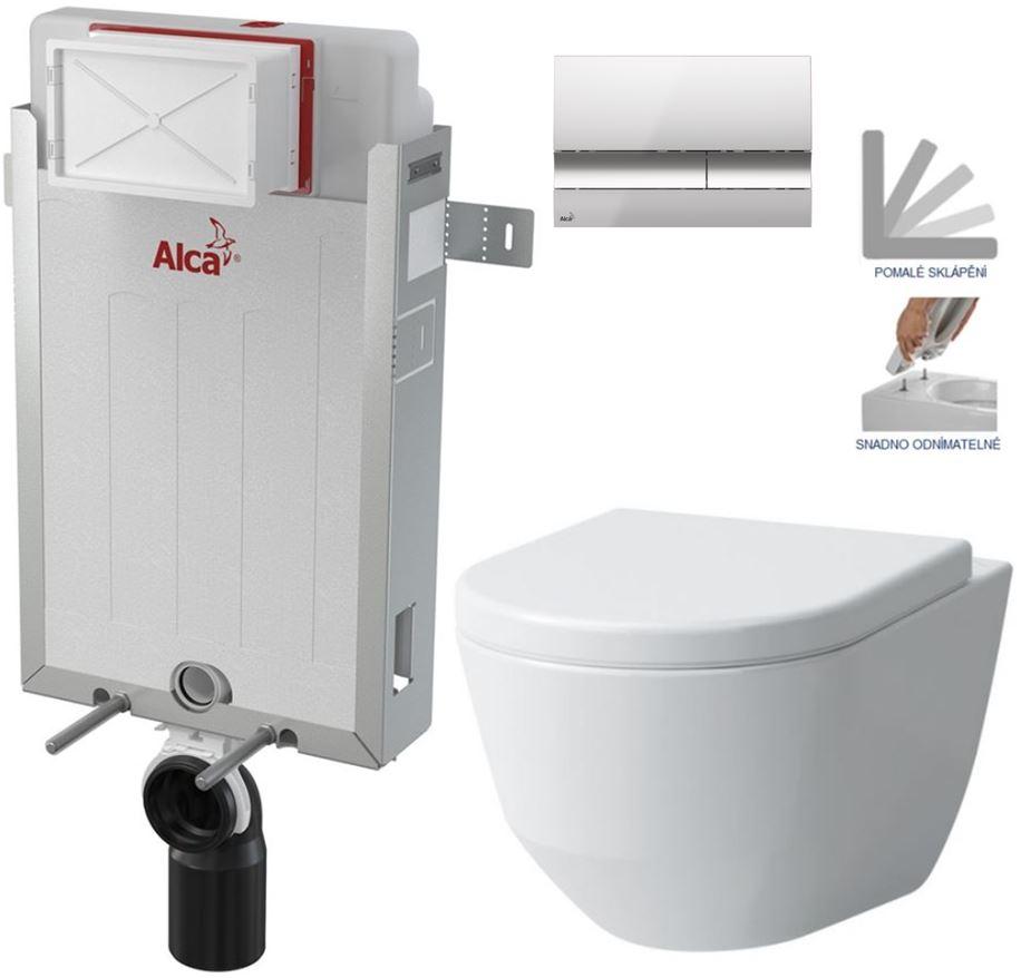 AKCE/SET/ALCAPLAST SET Renovmodul předstěnový instalační systém + tlačítko M1721 + WC LAUFEN PRO + SEDÁTKO AM115/1000 M1721 LP3