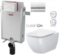 SET Renovmodul - předstěnový instalační systém + tlačítko M1721 + WC OPOCZNO CLEANON METROPOLITAN + SEDÁTKO (AM115/1000 M1721 ME1) - AKCE/SET/ALCAPLAST