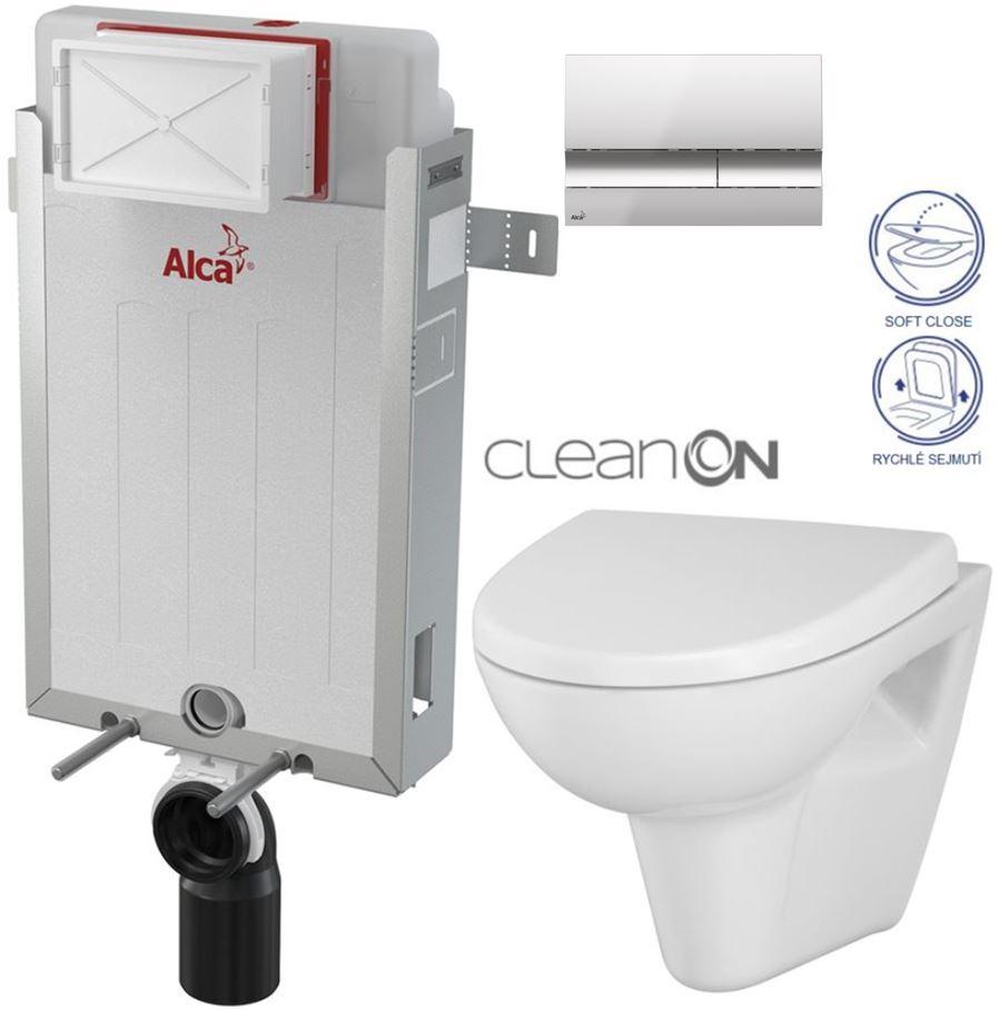 AKCE/SET/ALCAPLAST - Renovmodul - předstěnový instalační systém + tlačítko M1721 + WC CERSANIT CLEANON PARVA + SEDÁTKO (AM115/1000 M1721 PA1)