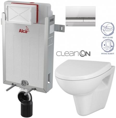 Renovmodul - předstěnový instalační systém + tlačítko M1721 + WC CERSANIT CLEANON PARVA + SEDÁTKO (AM115/1000 M1721 PA1) - AKCE/SET/ALCAPLAST